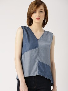 Marie Claire Casual Sleeveless Color Blocked Women Blue Top
