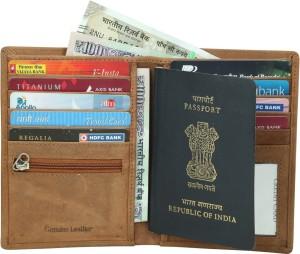 b1545b34a67e Kan Genuine Leather Passport Cover(2 Passports)/Travel Document Holder/Card  Holder for Men & WomenTan