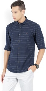 6043fd51145 LP Jeans by Louis Philippe Men s Striped Casual Blue Shirt Best ...