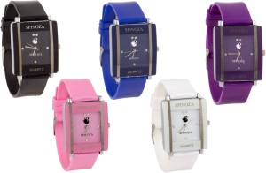 SPINOZA Glory multicolors square shape proffessional and beautiful women combo X69 Watch  - For Girls