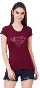 Subu Solid Women Round Neck Maroon T-Shirt