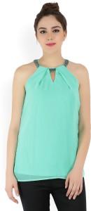 Jealous Club 21 Casual Sleeveless Solid Women Light Green Top