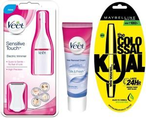 Veet Electric+Hair Removal Cream Sensitive Skin 100g+Maybelline Collosal Kajal Trimmer