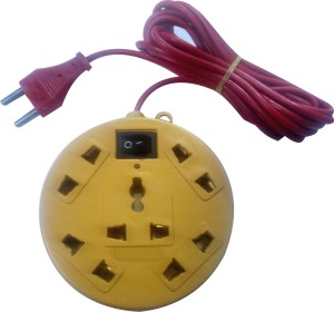 S.Blaze 5+1 ABS Body Extension Cord / Power Strip with ON / OFF Switch with 1 Three Pin Socket + 4 A Two Pin Socket