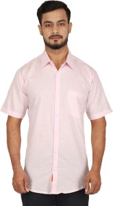 BASE 41 Men's Solid Casual Linen Pink Shirt