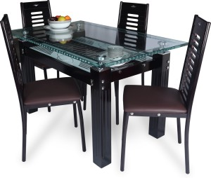 RoyalOak County Glass 4 Seater Dining Set Finish Color Brown Best ... c8c15c970