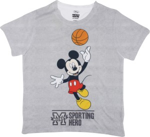 85f45445cf Mickey Mouse Family Boys Graphic Print Polyester T Shirt Grey Pack ...