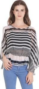 VF FASHIONS Casual Half Sleeve Printed Women Black Top
