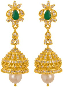 1fdc5a3fa Voylla Brilliant Zircon and Pearl Embellished Jhumka Earrings Pearl Brass  Jhumki Earring Price List :