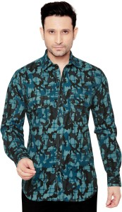 GlobalRang Men's Military Camouflage Casual Spread Shirt
