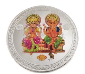Taraash Lord Ganesha With Goddess Lakshmi S 999 50 g Silver Coin