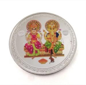 Taraash Multicolor Maa Lakshmi & Ganesh Ji S 999 10 g Silver Coin