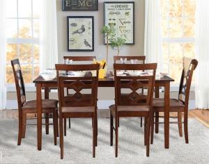 HomeTown Eva Solid Wood 6 Seater Dining Set