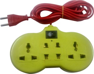 S.Blaze 4+1 ABS Body Extension Cord / Power Strip with ON / OFF Switch 2 Two Pin Socket + 2 A Three Pin Socket