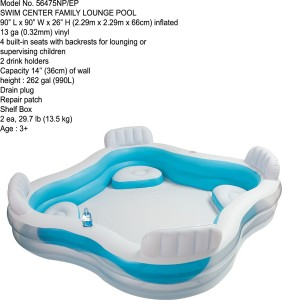 Vw Intex Family Lounge 4 Seater Inflatable Poolwhite And Blue