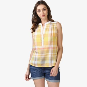 Ellemora Casual Sleeveless Checkered Women Yellow Top