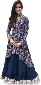 d8ea405ff5 Mert India Silk Embroidered Semi stitched Lehenga Kurta Material ...
