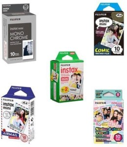 Fujifilm nstax mini Film Bundle F Consists of Daylight Film 20 Pack, Airmail 10 Pack, Comic 10 Pack, Stained Glass 10 Pack, Monochrome 10 Pack Film Roll