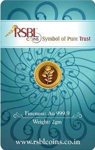 RSBL Precious Certified Elegant Rose Design 24 (9999) K 2 g Yellow Gold Coin