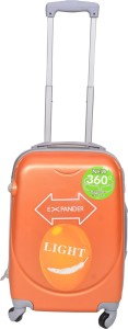 PRAGEE EXCLUSIVE STYLISH 20 INCHES ORANGE CHECK IN LUGGAGE TROLLEY BAG Cabin Luggage - 20 inch