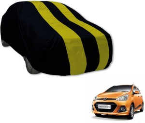 Auto Hub Car Cover For Hyundai Grand i10  Without Mirror Pockets  Black, Yellow