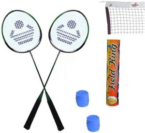 Cosco CB-88 Badminton Kit ( 2 Rackets, 2 Grip, 1 Nylon Badminton Net ,1 Fieldking shuttle cock- Pack of 10 ) Badminton Kit