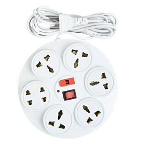 S.Blaze Multi-Colour 6 in 1 Rounded Power Strip Extension cord with ON / OFF switch and indicator 3-4m lengthy wire 6 A Three Pin Socket