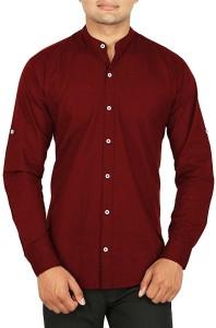 BASE 41 Men's Solid Casual Linen Maroon Shirt