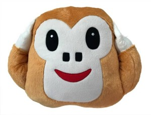 AKSHAT Monkey Ears Close Smiley Cushion - 35 cm (White, Brown)  - 5 cm