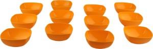 Homray Opulence Microwave Safe & Unbreakable Sunset Yellow Square 350 ml Bowls (Set of 12) Polypropylene Bowl Set