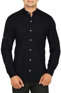 BASE 41 Men's Solid Casual Linen Black Shirt