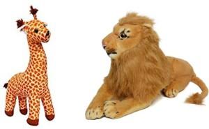 AKSHAT Madasagcar Combo - Melman Girrafe and Alex Lion - 32 cm (Multicolor)  - 32 cm