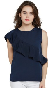 Miss Chase Formal Sleeveless Solid Women's Dark Blue Top