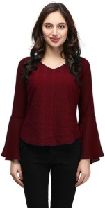 V&M Party Bell Sleeve Lace Women's Maroon Top