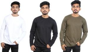 Roden Solid Men's Round Neck Black, Green, White T-Shirt