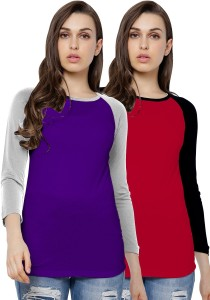 AE Solid Women Round Neck Multicolor T-Shirt