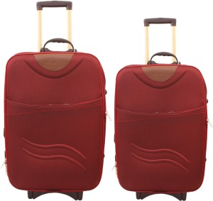 GOYMA Stylish Hard Shell Expandable (20,24) Inches Maroon Color Trolley Bag Pack Of 2 Cabin Luggage - 24 inch