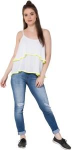 Secret Bazaar Party Sleeveless Solid Women's White Top