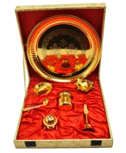 ellegent gold plated brass pooja thali set 7 pieces gold