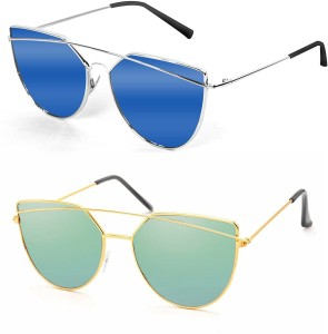 697fd693af665 Hupshy Cat eye Sunglasses Blue Green Best Price in India