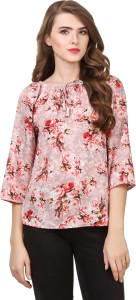 Delux Look Casual 3/4th Sleeve Printed Women Red Top