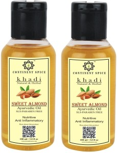 CONTINENT SPICE KHADI NATURAL & HERBAL SWEET ALMOND OIL (PACK OF 2)-  CS682005100 ml