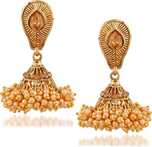 3869f5868 Meenaz Fashion Jewellery Traditional Gold plated Chandbali Pearl Jhumka Jhumki  Earrings for Girls women Combo partywear stylish Wedding Jewelry Hangings  ...