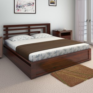 Home Edge Aelinia Solid Wood King Bed With Storage