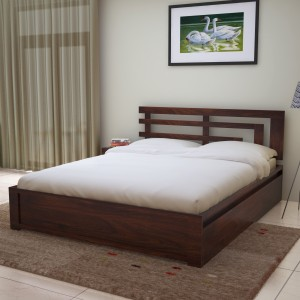 Home Edge Solid Wood Queen Bed With Storage