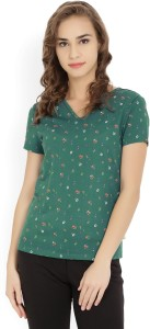 United Colors of Benetton Casual Short Sleeve Printed Women's Multicolor Top