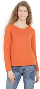 United Colors of Benetton Casual Full Sleeve Solid Women's Orange Top