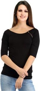 Samriti Casual 3/4th Sleeve Solid Women's Black Top