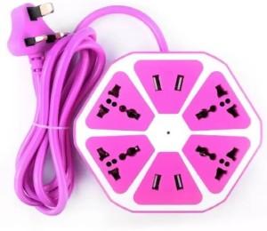 Starbust Multi-Purpose Hexagon 4 USB+4 Way Charging Switch Multicolor 10 A Three Pin Socket (usb socket-306) 10 A Three Pin Socket