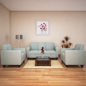 HomeTown Fabric 3 + 1 + 1 Green Sofa Set